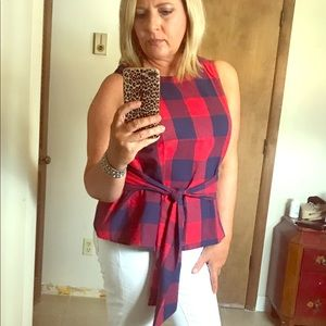 Navy and red checkered top